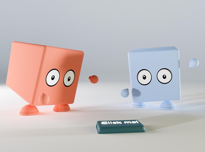 Clickbait illustration pixels clickbait blender render 3d button ui character