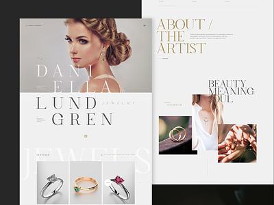 Daniella Lundgren Jewelry concept ux design ui typography website webdesign