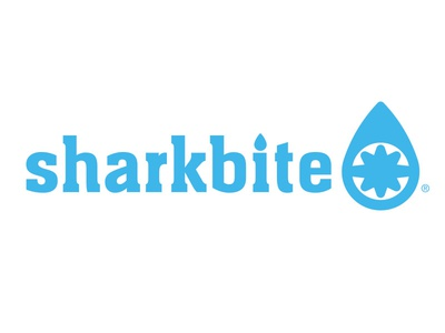 Sharkbite Plumbing Solutions waterdrop shark logo design logo graphic design design