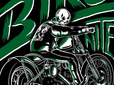Spade & Flames illustration quaker steak  lube the lube jonathan brim skull motorcycle biker