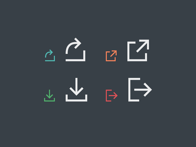 Arrows arrow share download sign out open icons