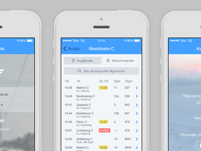 Swedish State Railways — Concept concept ios sj app schedule