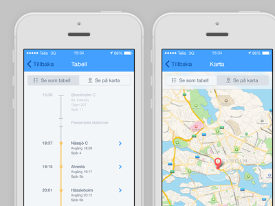 Swedish State Railways — Concept ios app sj concept map time schedule