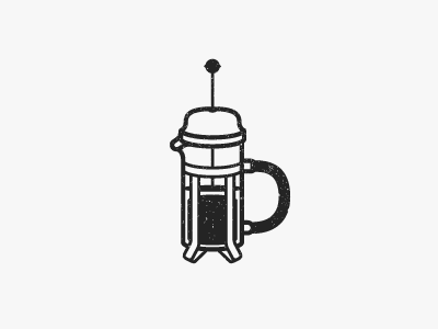 French Press #01 worn illustration french press coffee
