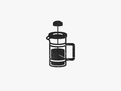 French Press #02 worn vintage french press coffee illustration