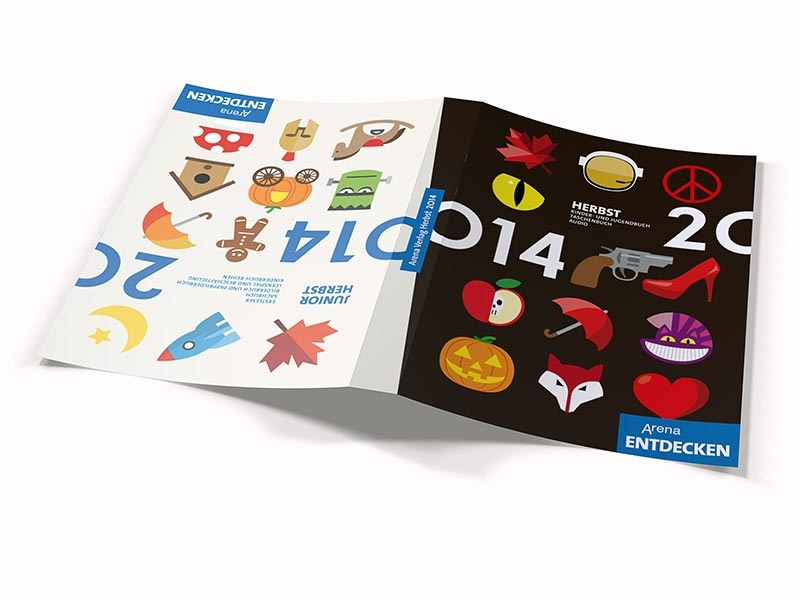 Reversible cover illustration arena verlag kids book icons 2014 throwback