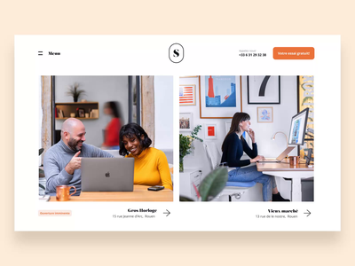 Coworking Home Page ux ui design website motion design branding identity home landing animation agency
