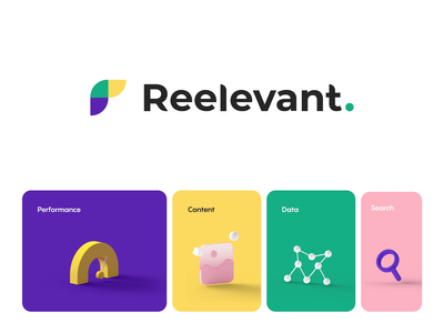 Reelevant - Brand icons colors 3d branding identity motion animation logo brand