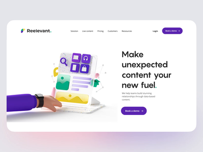 Relevant Home Page animation c4d branding 3d website home landing agency ux ui