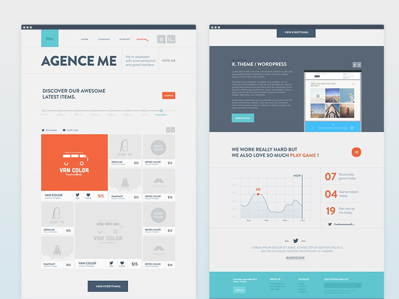 Home - AgenceMe home page website flat graph numbers kpi thumbnail shop
