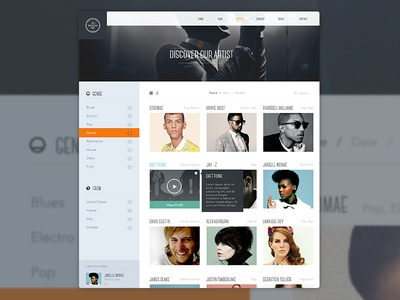 Find Artist artist ui ux thumbnail filter sidebar agency me cloud saints header logo