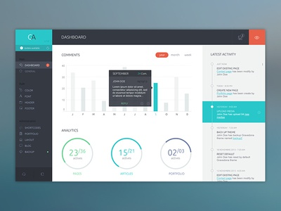 Dashboard Wordpress dashboard wordpress theme ui ux dark sidebar graph metric bar timeline activity