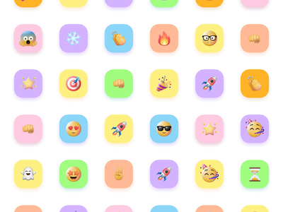 Kara Emoji pastel colors colorful team agenceme ux ui mobile app kara iconset 3d set emoji