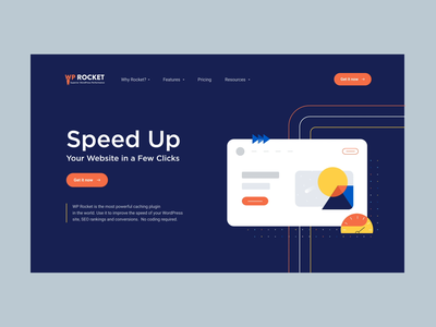WP Rocket Home Page dashboard app product branding illustration website home animation agency landing