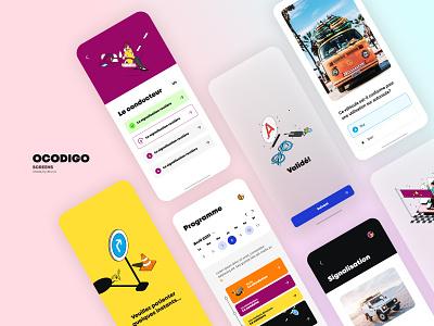 Ocodigo App Screens branding illustration design home animation agency me ux ui
