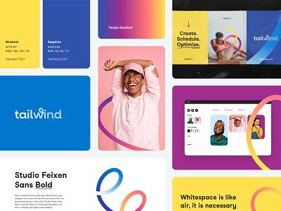 Tailwind - Brand pattern curves photo logo design landing gradient identity branding