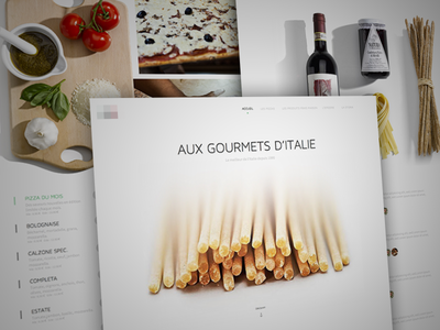 Landing - French Food white clean pizza pasta wine ux ui home landing italy food