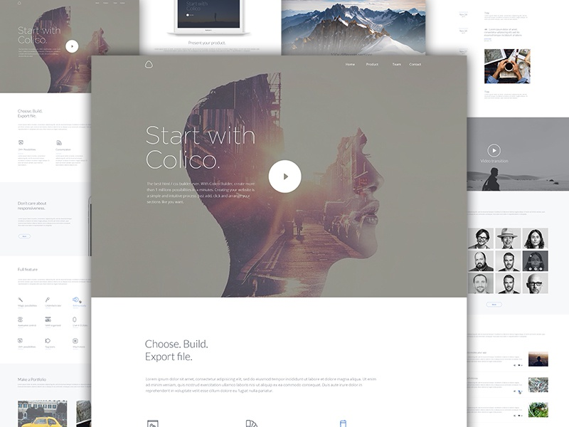 Template One cover header me agence section builder ux ui template