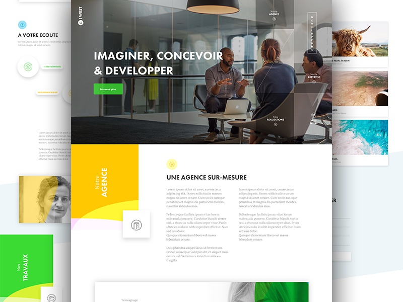 Home Page ui ux app landing one page agency me color