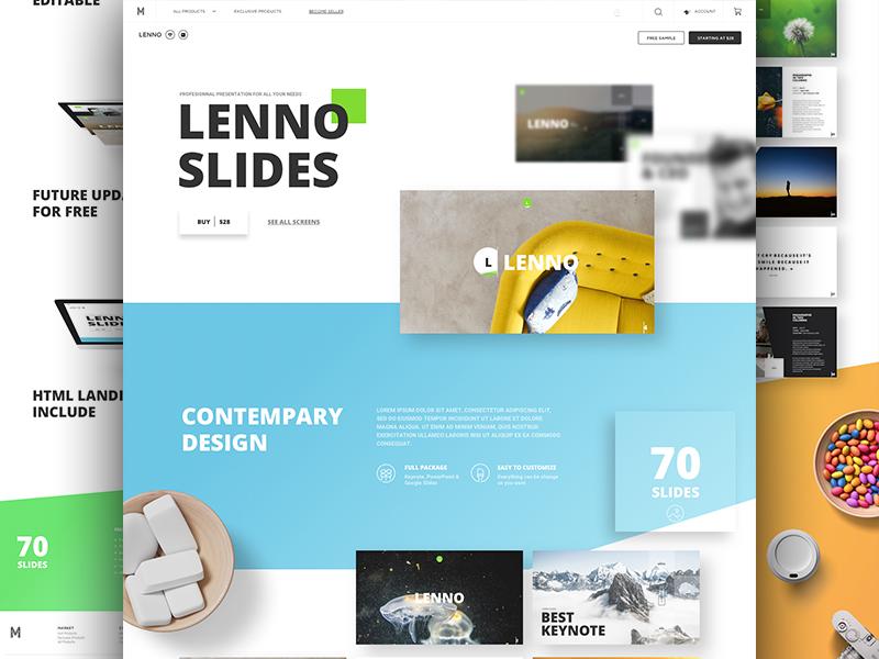Lenno Slides keynote powerpoint goods buy resources me market ui kit ux ui slides presentation