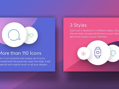 Icons Act. I set amazing outline line crealia exclusive market gradient ux ui act icons