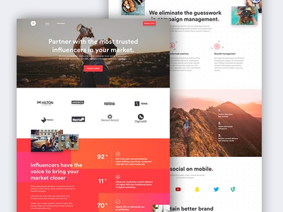 Influencee Homepage me mobile desktop ux ui gradient colour influence landing home