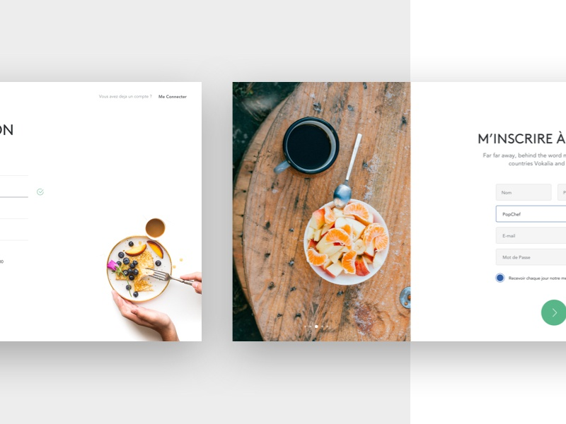 Sign In/Up Page clean white input food photo ux ui redesign me login sign