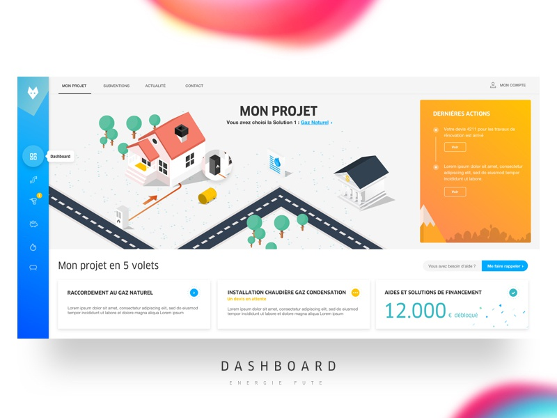 Dashboard Engie hire steps gradient colors isometrics team agency me ux ui dashboard