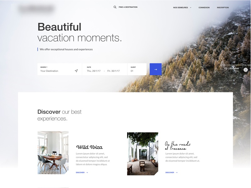 Trip Experience Concept experiences mountain agency me ux ui moment vacation beautiful landing holidays home