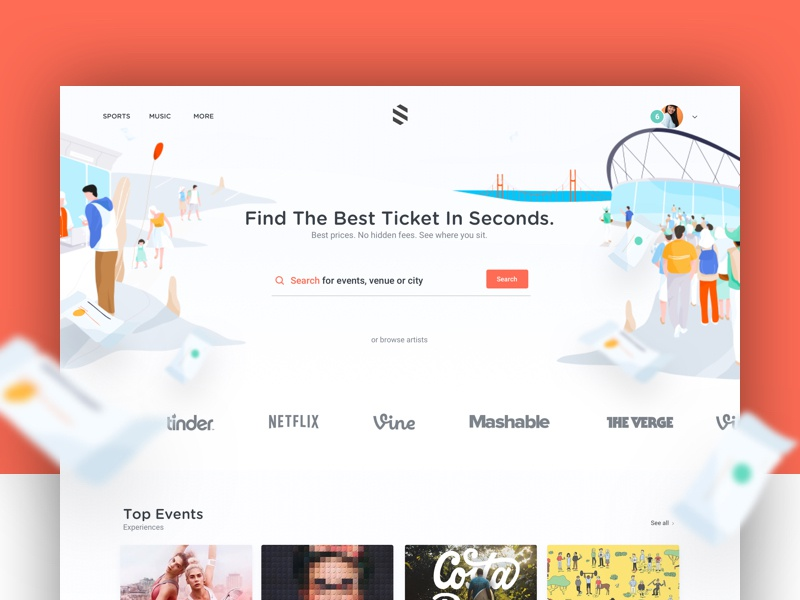 Ticketing Project ux ui me thumbnail illustration color search ticket team cover home