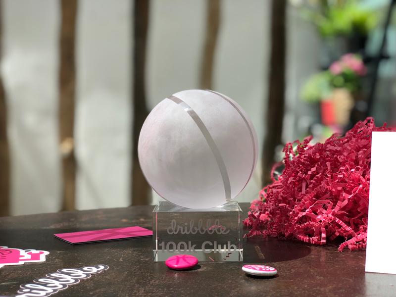 100k Club design package ball award gift 100k dribbble