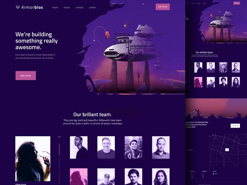 Armorblox space gradient illustration website home landing agency me ux ui