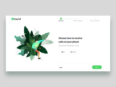 SnapCall Sign up Flow design illustration form signup flow home animation me ux ui