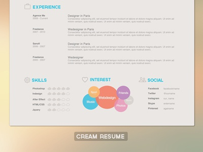Clean Resume clean cream resume cv agency me skills interest social experience profile student