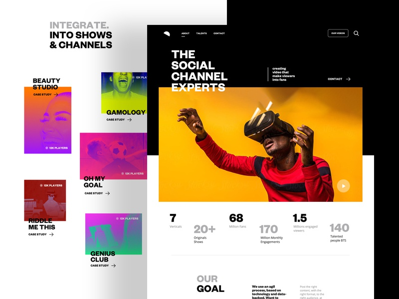 About Page metrics key design grid photos social website home landing ux agency ui