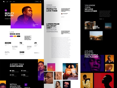 Corporate - Pages gradient colors layout clean pictures photo product design home landing agency me ux ui