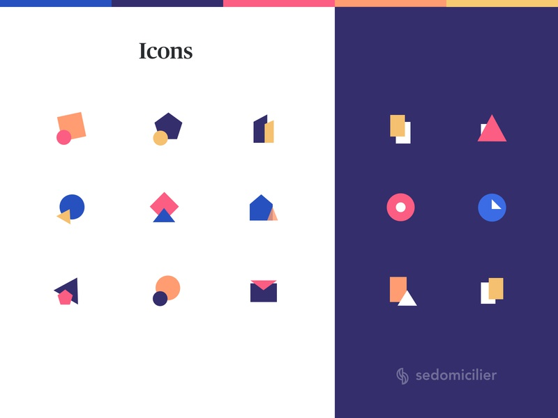 Icons Set - Sedomicilier icon design icons pack colorscheme agency iconset illustrations abstraction colors icons