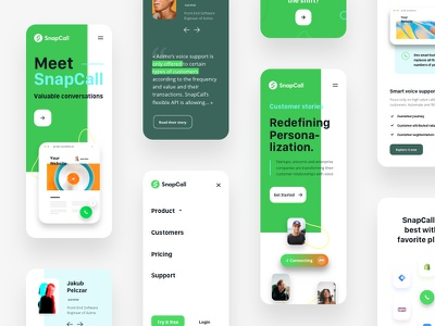 Snapcall   Responsive ux mobile ui animation green call mobile responsive branding