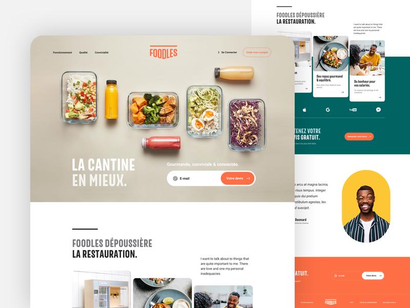 Foodles - HomePage website landing ui ux eat drink food webdesign branding homepage