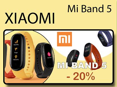 "banner ""Sale for Xiaomi Mi band"" photoshop illustrator figma band web uiux banner design xiaomi"