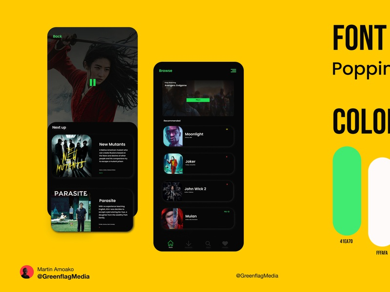 Movie app concept movieapp app web typography ux vector ui design