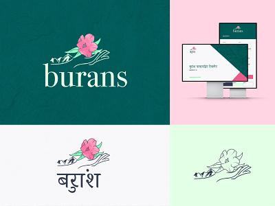 Burans Branding Design hindi support flower logo mountain logo mountain flower india mental health ngo illustration logo designer logo ember charity logo branding