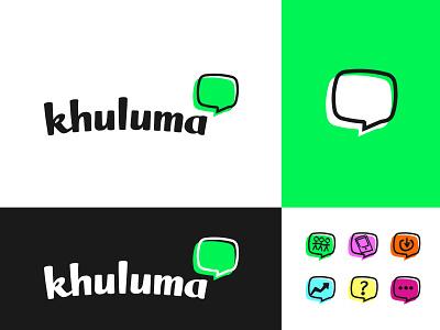 Khuluma Support group logo imessage whatsapp sms chat bright bright colours icons bubble speech identity mental health logo logo designer charity logo branding