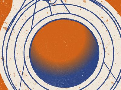 All Spun Out. deep blue bright orange art print crayon poster gradient science fiction science illustration print design simple minimalistic illustration