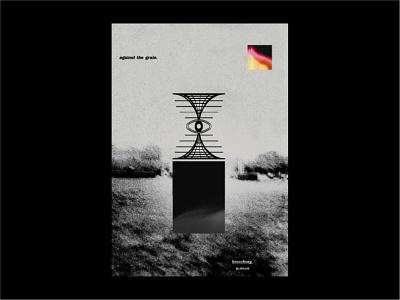 Against The Grain. minimalist aesthetic surreal illustration silver monotone metallic gradient techno design grunge texture