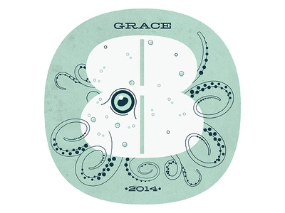 Grace Number 8 eight 8 numbers pompadour octopus illustration texture kids