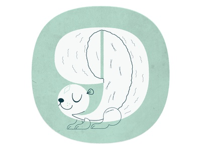 Number 9 pompadour texture squirrel 9 nine numbers illustration