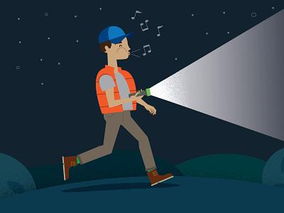 Whistling Hiker hike whistle night flashlight
