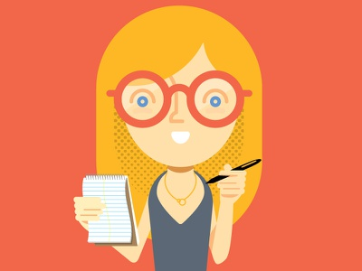interview glasses notepad