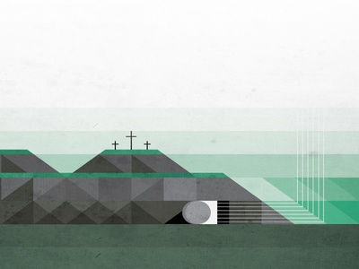 Easter easter jesus stone cross rolled away death conquered texture illustration